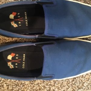 Cole haan blue slip on shoes